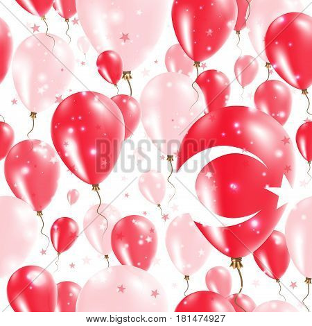 Turkey Independence Day Seamless Pattern. Flying Rubber Balloons In Colors Of The Turkish Flag. Happ