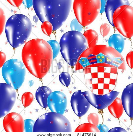 Croatia Independence Day Seamless Pattern. Flying Rubber Balloons In Colors Of The Croatian Flag. Ha