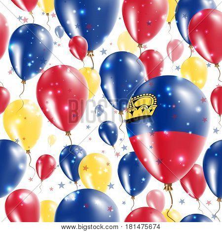 Liechtenstein Independence Day Seamless Pattern. Flying Rubber Balloons In Colors Of The Liechtenste