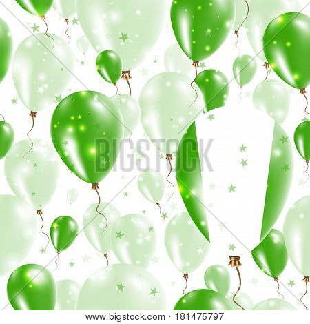 Nigeria Independence Day Seamless Pattern. Flying Rubber Balloons In Colors Of The Nigerian Flag. Ha