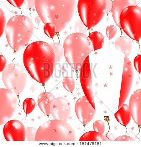 Peru Independence Day Seamless Pattern. Flying Rubber Balloons In Colors Of The Peruvian Flag. Happy