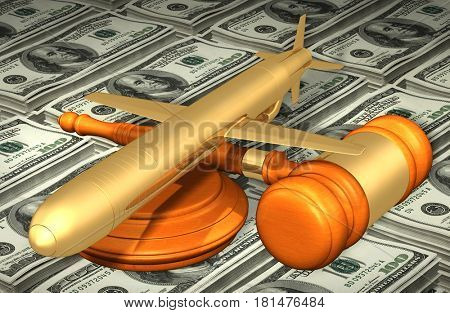 Cruise Missile Legal Gavel Concept 3D Illustration