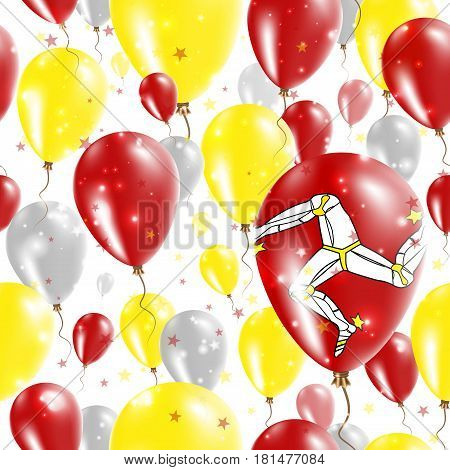 Isle Of Man Independence Day Seamless Pattern. Flying Rubber Balloons In Colors Of The Manx Flag. Ha