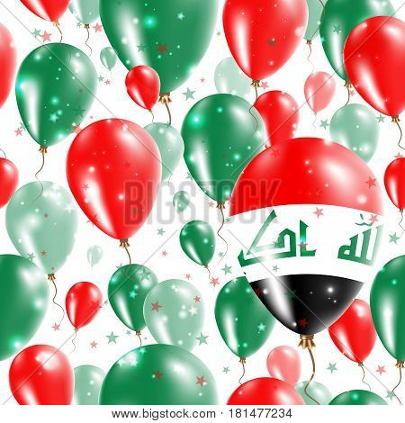 Republic Of Iraq Independence Day Seamless Pattern. Flying Rubber Balloons In Colors Of The Iraqi Fl
