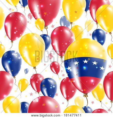 Venezuela Independence Day Seamless Pattern. Flying Rubber Balloons In Colors Of The Venezuelan Flag