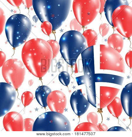 Norway Independence Day Seamless Pattern. Flying Rubber Balloons In Colors Of The Norwegian Flag. Ha