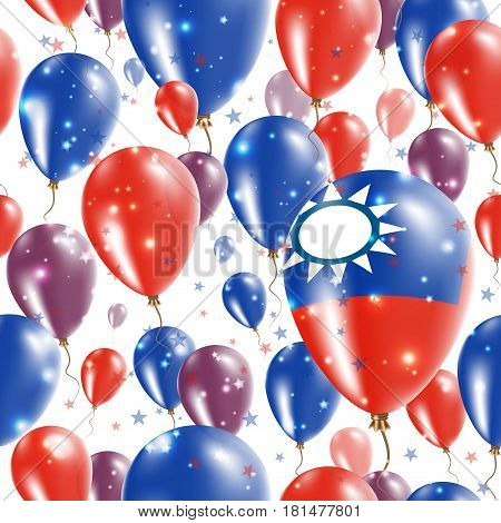 Taiwan Independence Day Seamless Pattern. Flying Rubber Balloons In Colors Of The Taiwanese Flag. Ha