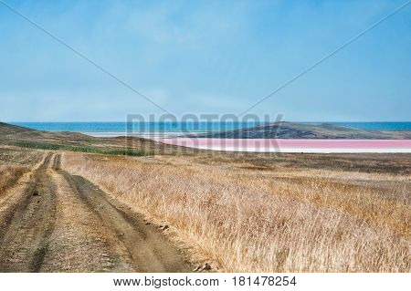 Road To Red Salt Lake In Crimea, Russia