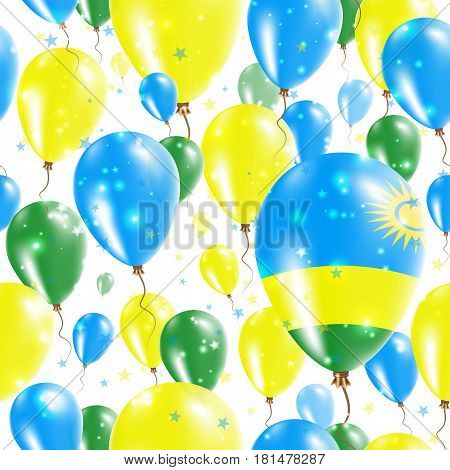 Rwanda Independence Day Seamless Pattern. Flying Rubber Balloons In Colors Of The Rwandan Flag. Happ