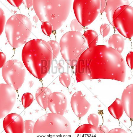 Indonesia Independence Day Seamless Pattern. Flying Rubber Balloons In Colors Of The Indonesian Flag