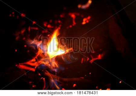 Brazier and coal fire at night closeup