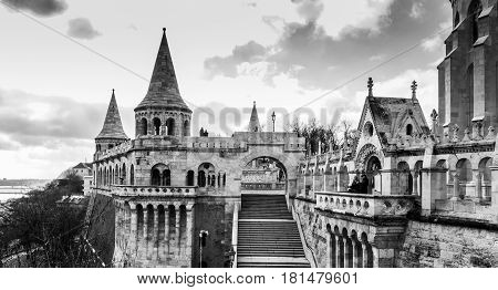 Fishermans Bastion In Monochrome