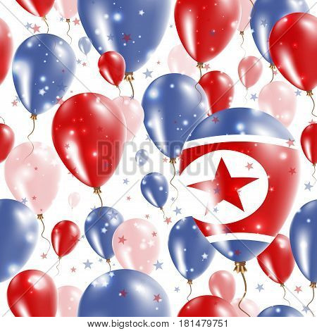 North Korea Independence Day Seamless Pattern. Flying Rubber Balloons In Colors Of The North Korean