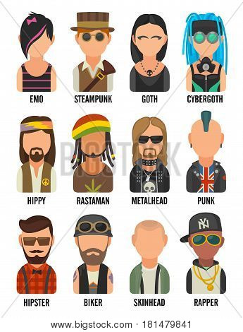 Set icon different subcultures people. Hipster, raper, emo, rastafarian, punk, biker, goth, hippy, metalhead, steampunk, skinhead, cybergoth. Vector flat illustration on white background