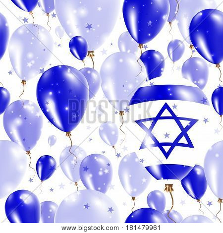 Israel Independence Day Seamless Pattern. Flying Rubber Balloons In Colors Of The Israeli Flag. Happ