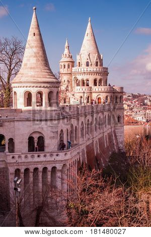 Three of the seven towers on Fishermans Bastion Budapest.