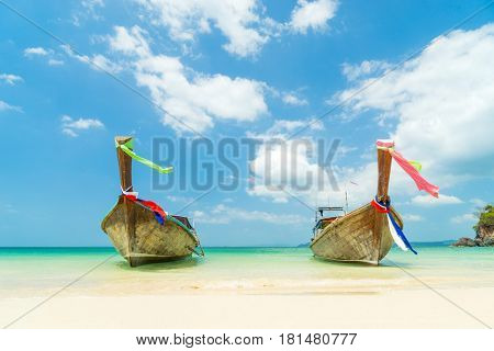 Long tail boat on Railay West beach in Ao Nang, Krabi province, Thailand