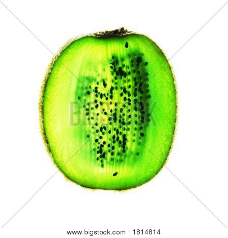 Kiwi Fruit Slice On White