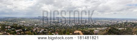 Panoramic view of Los Angeles, California in the San Fernando Valley