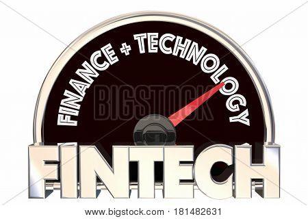 Fintech Speedometer Finance Technology 3d Illustration