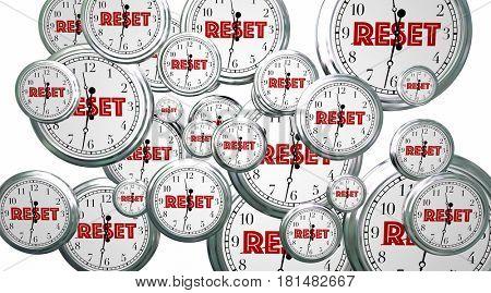 Reset Your Clocks Time Flying Word 3d Illustration