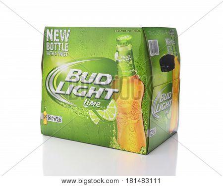 IRVINE CA - APRIL 13 2017: Bud Lime 12 Pack Bottles. From Anheuser-Busch InBev Bud Light Lime is a flavored beer introduced in 2008.