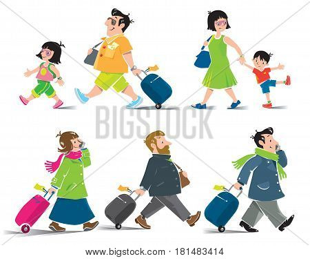 Set of funny passengers. Family in airport. Vector illustration of man, woman and children in summer clothing and other passengers in winter clothing.