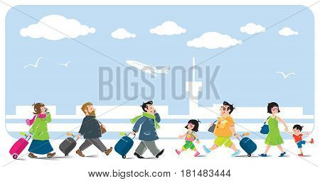 Set of funny passengers. Family in airport. Vector illustration of man, woman and children in summer clothing and other passengers in winter clothing. On the background of the airport
