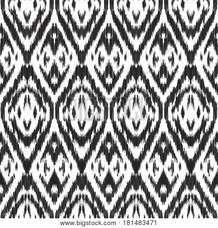 Vector illustration of the black and white colored ikat ornamental seamless pattern.
