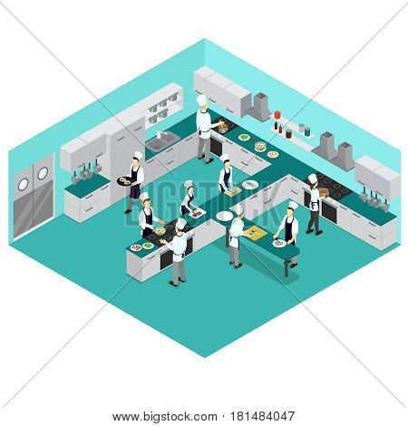 Isometric restaurant cooking concept with people preparing different meals and dishes in kitchen room vector illustration