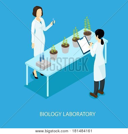 Isometric biological scientific experiment concept with female scientists standing near table with plants in flowerpots vector illustration