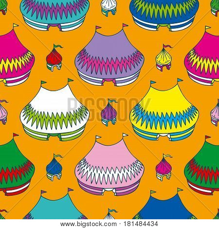 Circus Tents Seamless Pattern on an Orange Background