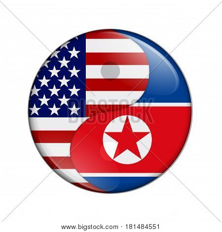 USA and North Korea working together The US flag and North Korean flag on a yin yang symbol isolated over white 3D Illustration