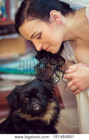 Portrait Of A Bride With Her Pet