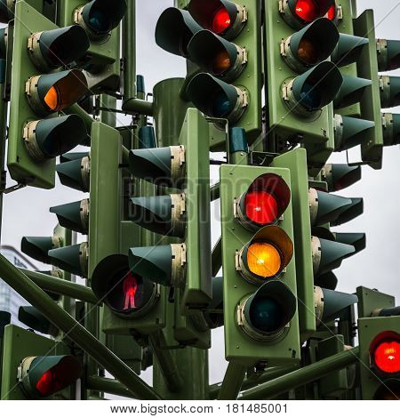 Traffic light tree seen a few miles from central London.