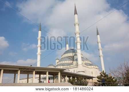 ANKARA, TURKEY - JANUARY 17, 2017: The Kocatepe Mosque is the largest mosque in Ankara, the capital of Turkey. It was built between 1967 and 1987