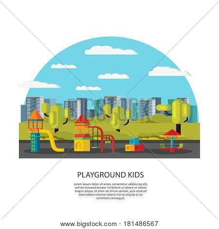 Kids amusement and entertainment concept with playground carousels equipment and elements on summer cityscape vector illustration