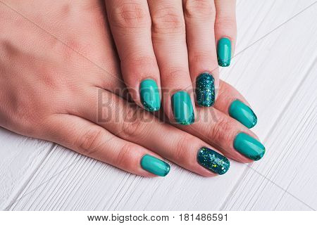 Turquoise Nail Art With Tinsels