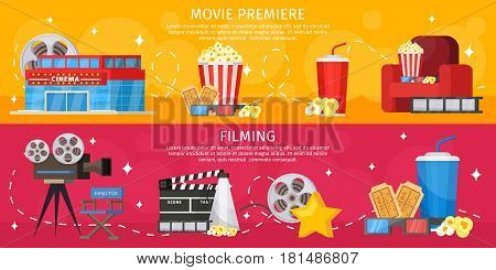 Colorful cinema horizontal banners with building popcorn soda glasses armchair camera megaphone tickets filmstrip director chair vector illustration