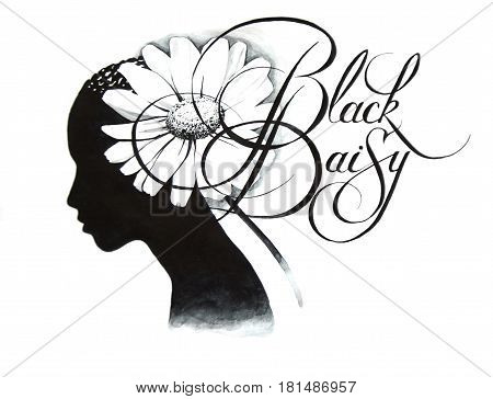 Black silhouette head of a girl with a haircut in the form of a flower daisy and a unique handwritten inscription-black daisy