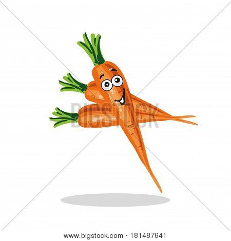 Smiling Carrot Cartoon Character stock Vector Illustration Isolated on white