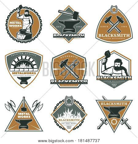 Colorful vintage metalworks labels set with workman blacksmith oven tools and equipment isolated vector illustration