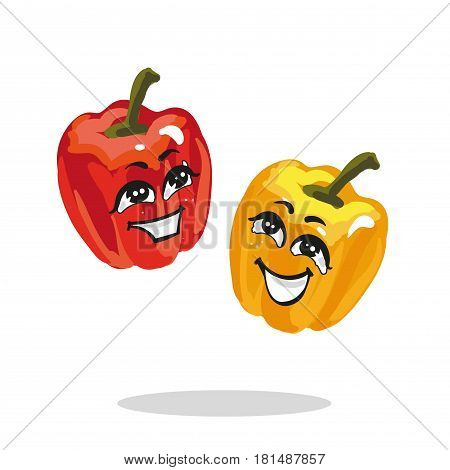 Cartoon red paprika smiling vector stock hand drawn character