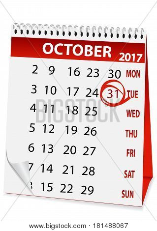 icon in the form of a calendar for Halloween