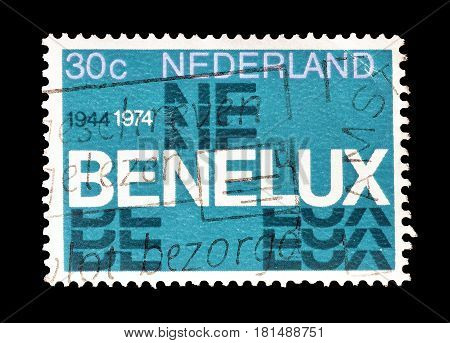 NETHERLANDS - CIRCA 1974 : Cancelled postage stamp printed by Netherlands, that shows Benelux logo.