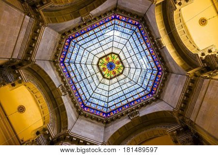 Indianapolis - Circa April 2017: Indiana State Capital Rotunda. The beautiful stained glass dome window is original and made from German glass II
