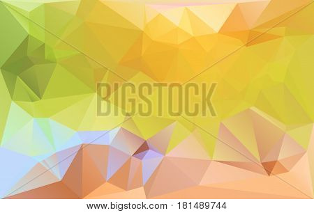 Green brown yellow horizontal abstract background. Low polygonal gradient vibrant pattern. Vector illustration. Lowpoly texture backdrop.