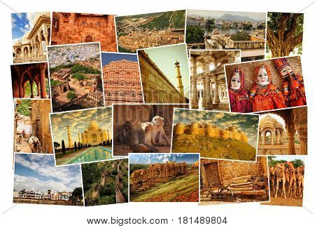 Collage of images from famous location in Rajasthan, north India on white background