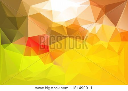 Lowpoly bright colorful background. Mosaic futuristic diamond style backdrop. Vector illustration. Triangle yellow green red texture.