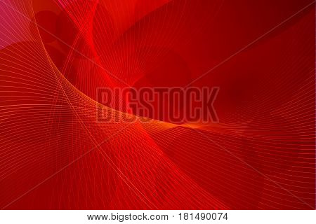 Abstract red futuristic red background vector illustration. Wavy lines template.